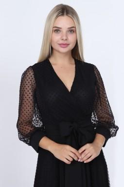 Puantiyeli Mor Renk Elbise