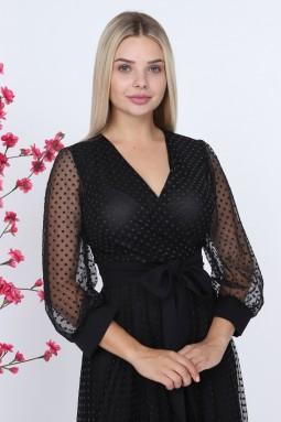 Puantiyeli Siyah Renk Elbise