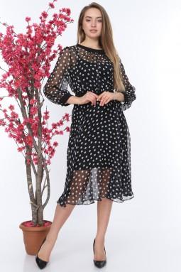 Puantiyeli Siyah Renk Tül Elbise