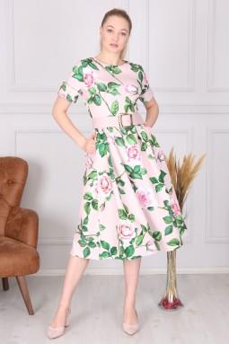 Pudra Çiçek Desenli Elbise