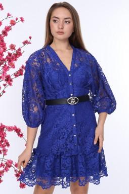 Sax Düğmeli Dantelli Elbise