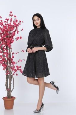 Simli Siyah Elbise