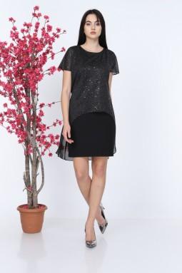 Siyah Simli Kısa Kol Tül Elbise
