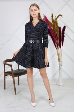 Simli Yuvarlak Desenli Lacivert Elbise