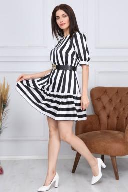 Siyah Beyaz Çizgili Elbise