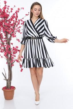 Siyah Beyaz Çizgili Kruvaze Elbise