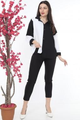 Yakalı Düğmeli Siyah Beyaz Takım