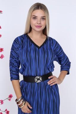Siyah Çizgili V Yaka Mavi Elbise