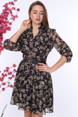 Siyah Desenli Şifon Elbise