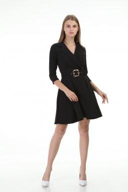 Siyah Kısa Pileli Elbise