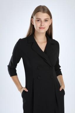 Siyah Pileli Elbise