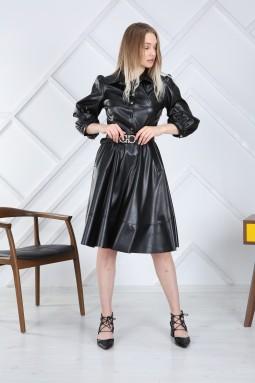Siyah Kemerli Deri Elbise