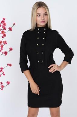 Siyah Düğmeli Kadife Elbise