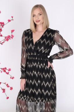 Siyah Renk Uzun Tül Elbise