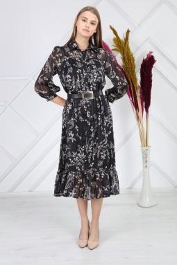Siyah Desenli Simli Elbise