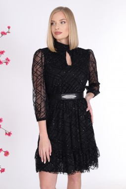 Simli Siyah Renk Tül Elbise