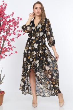 Siyah Desenli Volanlı Elbise