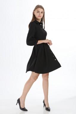 Siyah Yakalı Düğmeli Kısa Elbise