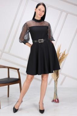 Siyah Renk Puantiye Tüllü Elbise