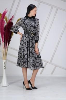Siyah Ribanalı Desenli Elbise