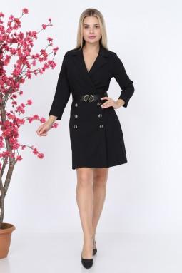 Yakalı Düğmeli Siyah Renk Elbise
