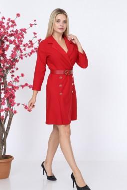 Yakalı Düğmeli Kırmızı Renk Elbise