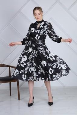 Desenli Yarım Balıkçı Fransız Elbise