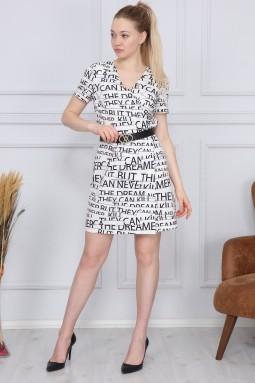 Beyaz Yazı Desenli Elbise