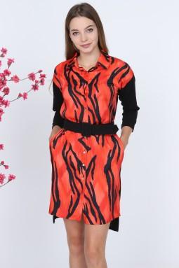 Zebra Desen Kırmızı Elbise