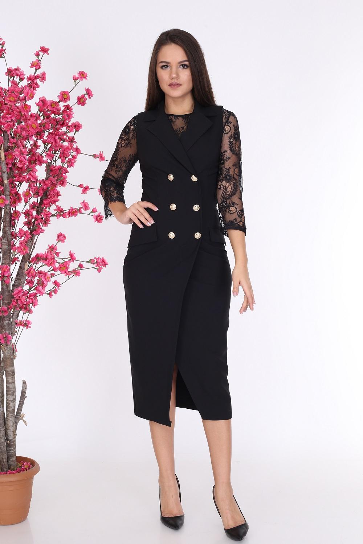 Yakalı Düğmeli Siyah Elbise