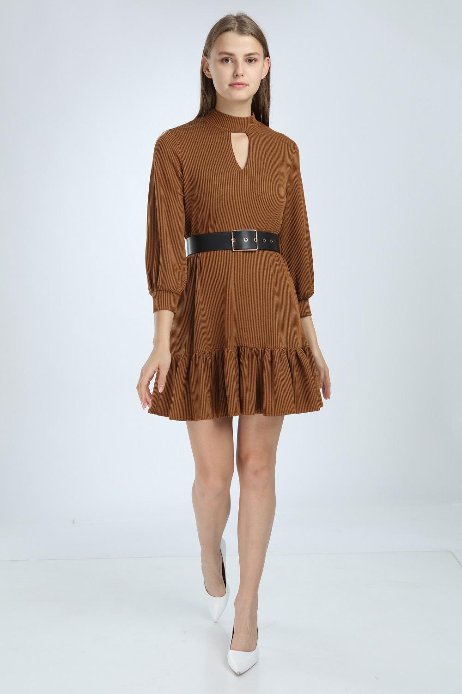 Kiremit Renk Eteği Fırfırlı Elbise