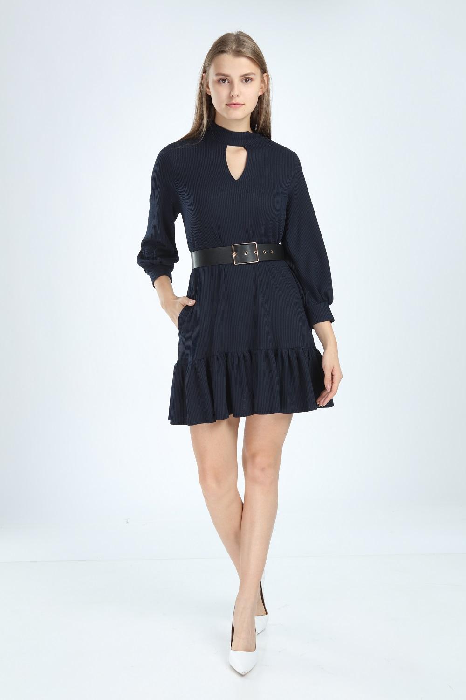 Lacivert Renk Eteği Fırfırlı Elbise