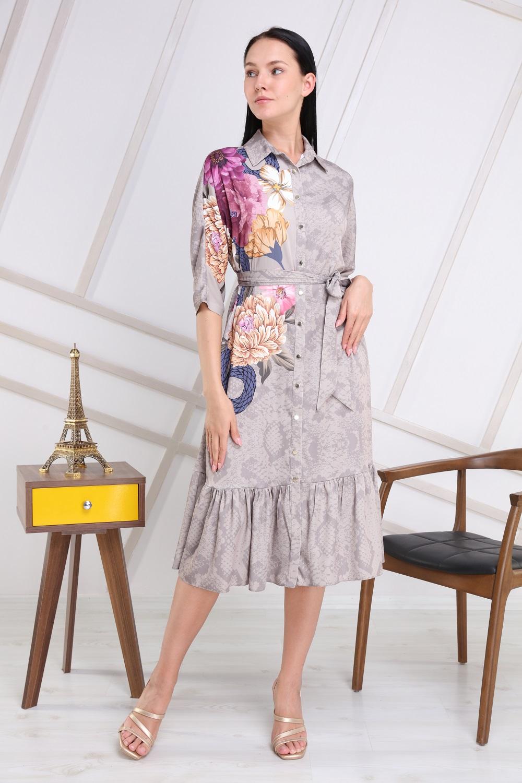 Gri Çiçek Desenli Elbise