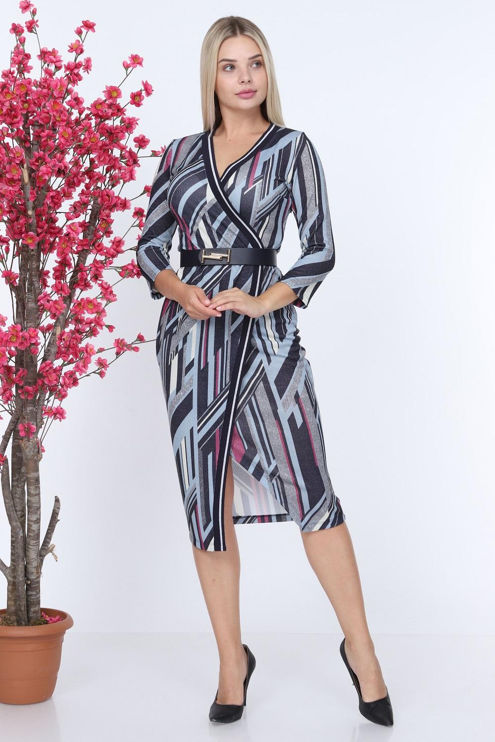 Gri Ribanalı Desenli Elbise