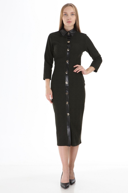 Haki Deri Yakalı Düğmeli Elbise