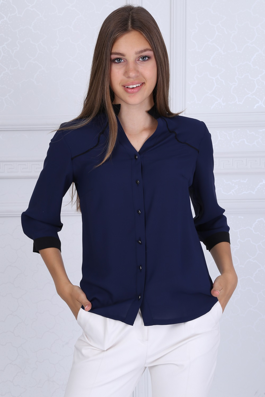 Siyah Yakalı Lacivert Bluz