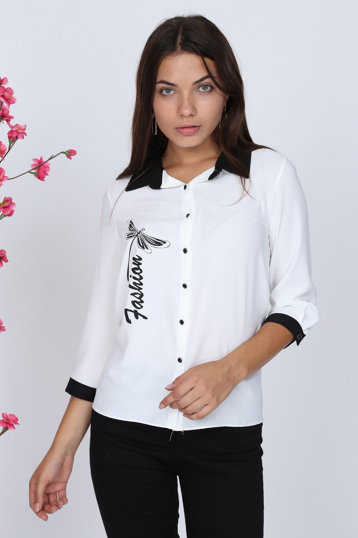 Kelebek Desenli Beyaz Bluz