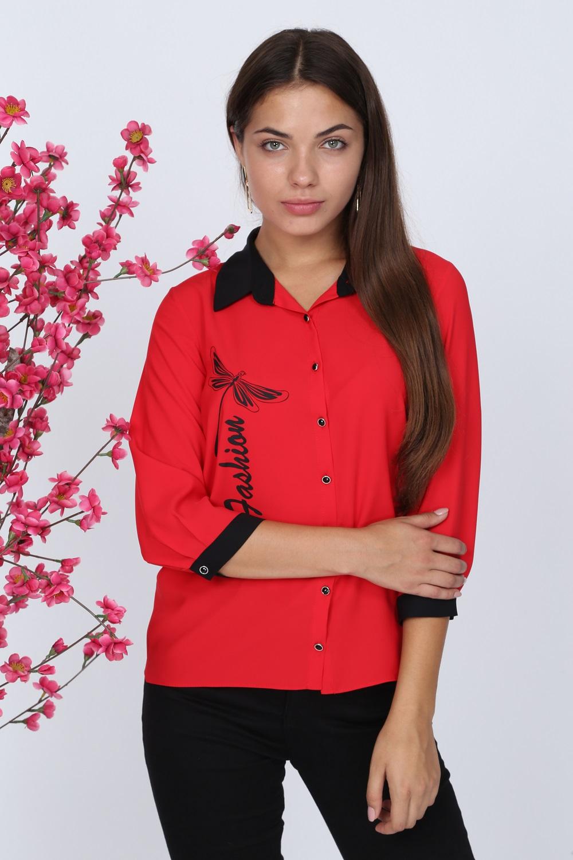 Kelebek Desenli Kırmızı Bluz