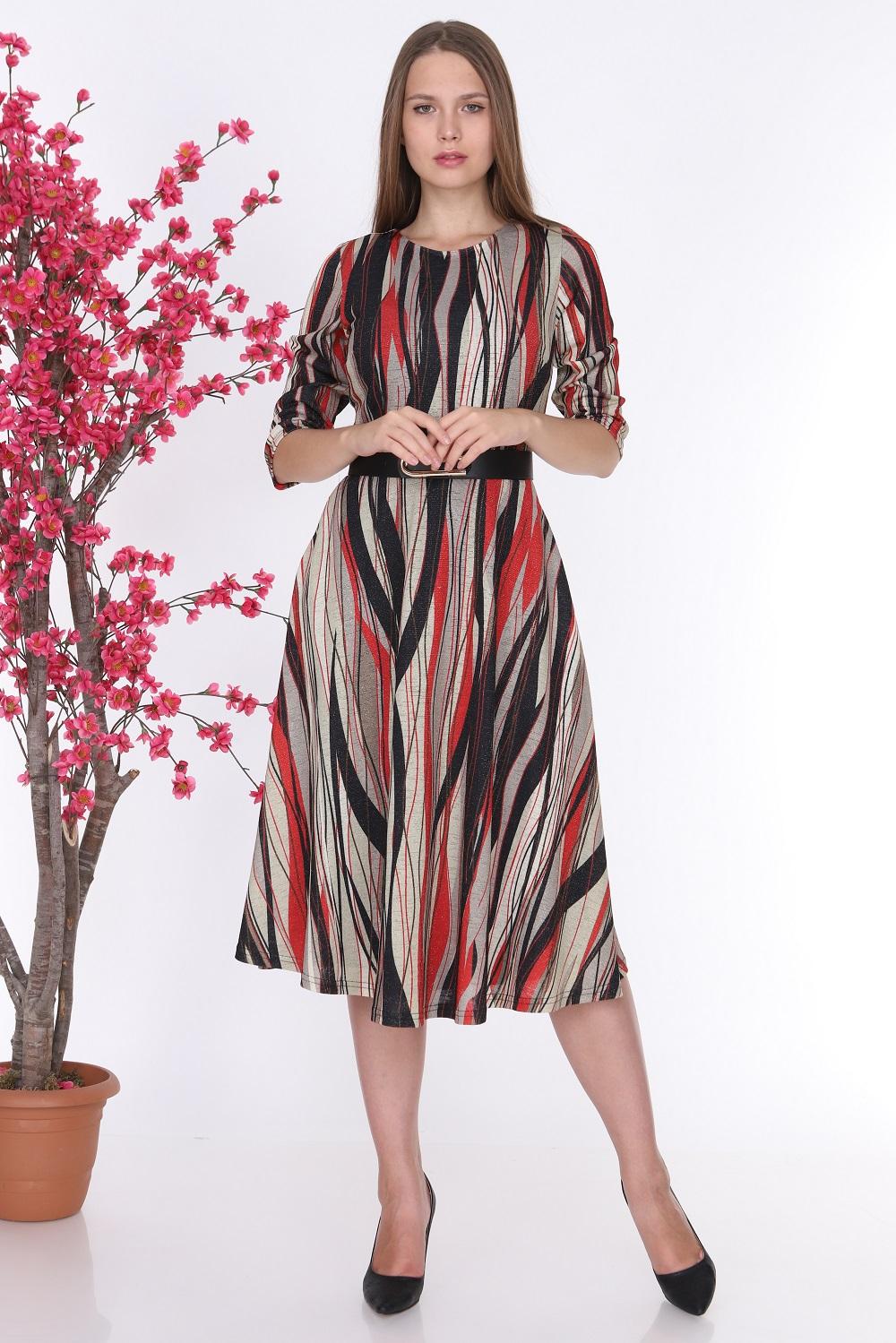 Kırmızı Çizgili Simli Triko Elbise