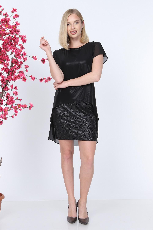 Kısa Kol Siyah Renk Elbise