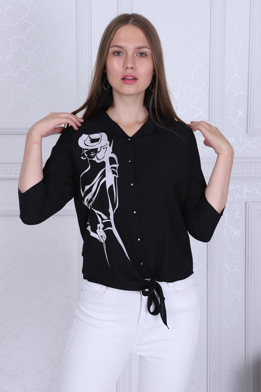 Kız Desenli Siyah Renk Bluz