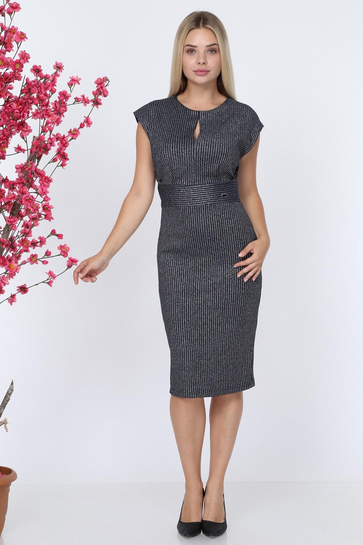 Kolsuz Lacivert Triko Elbise