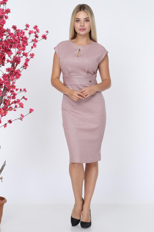Kolsuz Pudra Triko Elbise