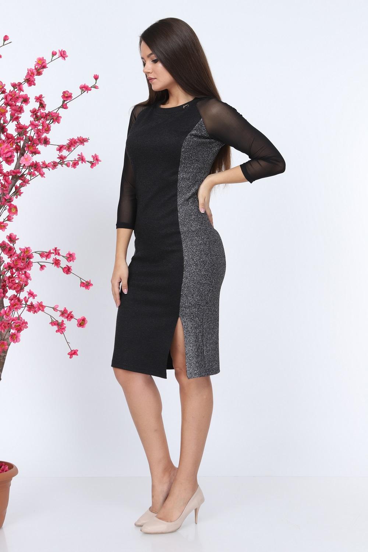Siyah Kolu Tül Triko Elbise