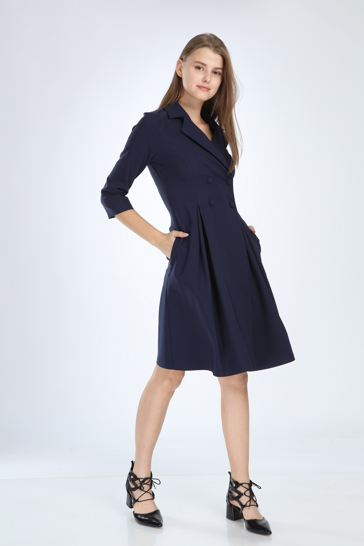 Lacivert Pileli Elbise