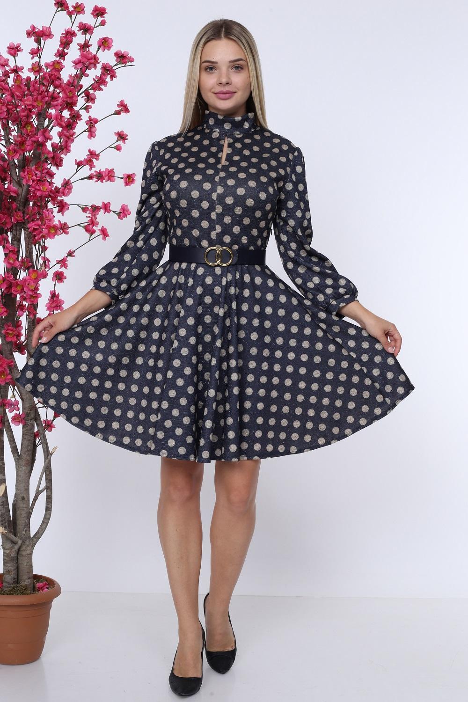 Lacivert Puantiyeli Kemerli Elbise