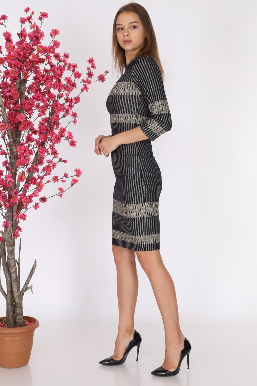 Lacivert Çizgili Triko Elbise
