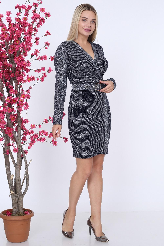 Kemerli Lacivert Renk Triko Elbise
