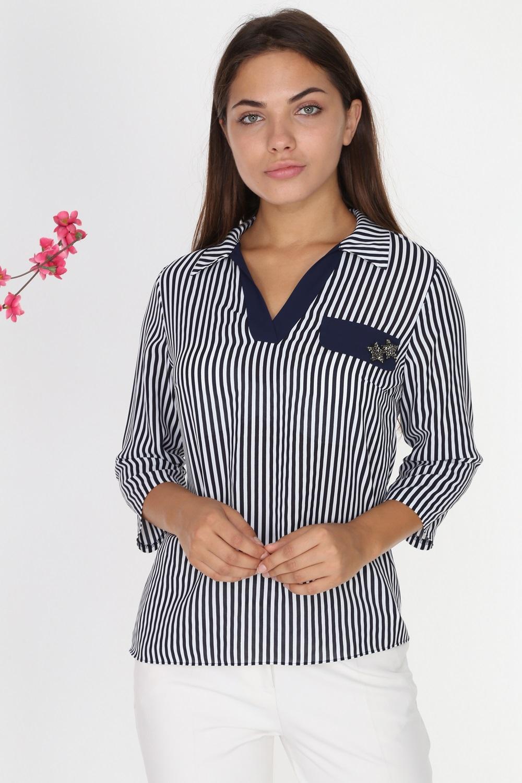 Lacivert Çizgili Yakalı Bluz