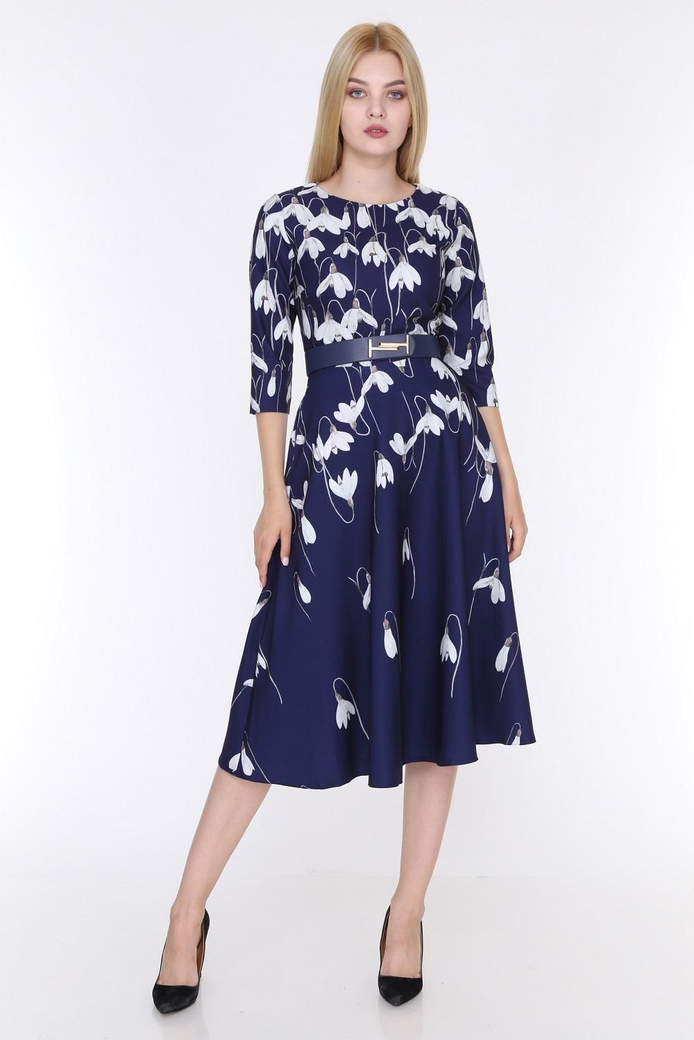 Lale Desenli Lacivert Renk Elbise